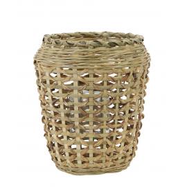 Portavelas bambú natural.