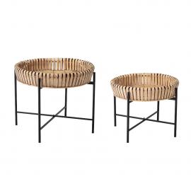 Set mesas de cnetro bambú/hierro.