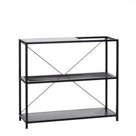 Estantería baja 3 niveles de metal negro. 104x35x91 cm.