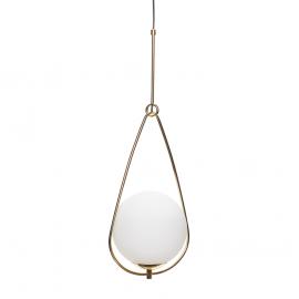 Lámpara de techo, latón y cristal.