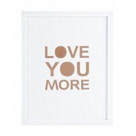 """Lámina blanca con frase """"te amo más"""""""