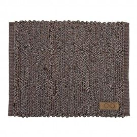 Mantel individual rectangular de yute color topo.