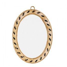 Espejo ovalado de caña de bambú