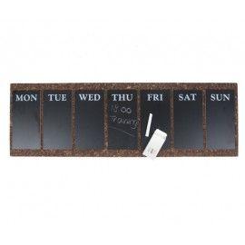 Calendario semanal de corcho y pizarra.