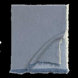 Plaid algodón azul.