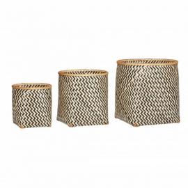 Cesta bambú natural/negro. Varios tamaños.