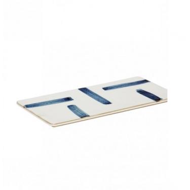 Tabla de cortar blanca/azul.