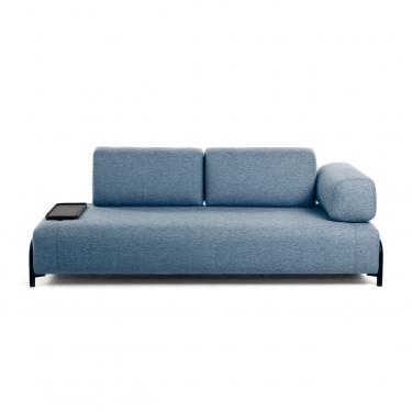 Sofá Compo 3 plazas azul con bandeja pequeña 232 cm