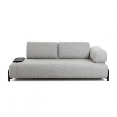 Sofá Compo 3 plazas gris claro con bandeja pequeña 232 cm