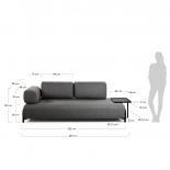 Sofá Compo 3 plazas gris oscuro con bandeja grande 252 cm