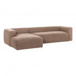 Sofá Blok 3 plazas chaise longue izquierdo rosa 330 cm