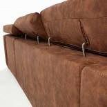 SINGAPORE Sofá 3 plazas chaise longue tela marrón óxido