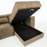 SINGAPORE Sofá 3 plazas chaise longue tela marrón claro