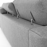 SINGAPORE Sofá 3 plazas chaise longue tela gris claro