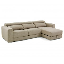 SINGAPORE Sofá 3 plazas chaise longue tela beige