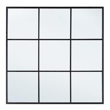 Espejo ventana negro 90x3x90cm.
