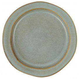 Plato llano cerámica color azul.