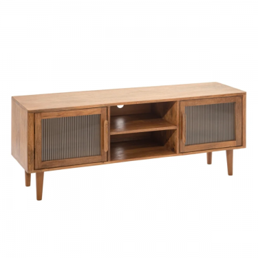MUEBLE TV MARRÓN OSCURO MADERA / CRISTAL 145 X 40 X 55 CM