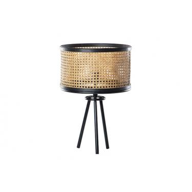 Lámpara ratán y metal de mesa 35x35x50cm