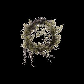 Corona navideña con musgo