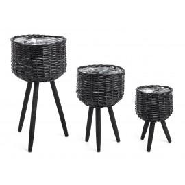 Macetero de bamboo negro con patas de haya. Varios tamaños