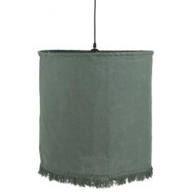 Lámpara de techo de lino verde.
