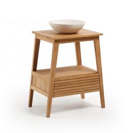 SUNDAY Mueble baño 70x91 madera teca lavabo terrazo