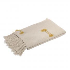 Manta Caitlin 100% algodón beige y mostaza 130 x 170 cm