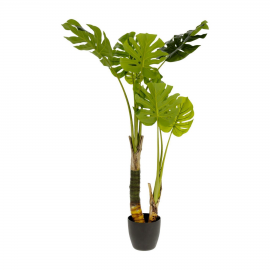 Planta artificial Monstera con maceta de cemento negro 130 cm