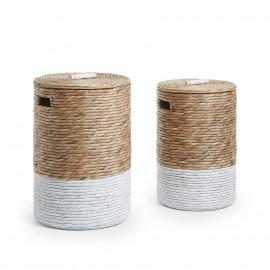MAJA Set 2 cestas lavandería jacinto agua nat blanco