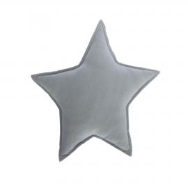 Cojín estrella Noor 100% algodón orgánico (GOTS) gris 44 x 30 cm
