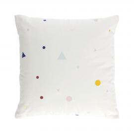 Funda cojín Miris 100% algodón orgánico topos y triángulos multicolor 45 x 45 cm