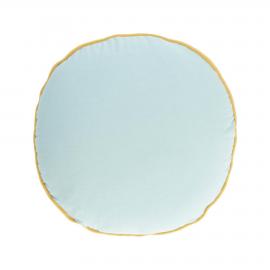 Funda cojín redondo Fresia 100% algodón orgánico azul Ø 45 cm
