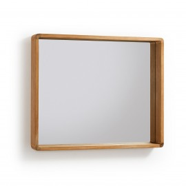 SUNDAY Espejo de madera maciza de teca 80 x 65 cm