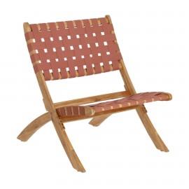 Sillón plegable Chabeli madera maciza acacia y cuerda terracota