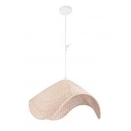 Lámpara de techo de mimbre.