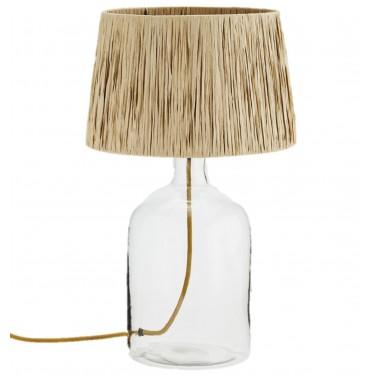 Lámpara de mesa de vidrio con pantalla de rafia.