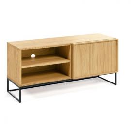 Mueble TV Taiana 1 puerta con chapa de roble y acero acabado negro 112 x 51 cm