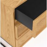 Cómoda Taiana con 3 cajones chapa de roble y estructura de acero acabado negro 100 x 78 cm