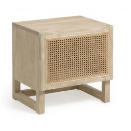 Mesita de noche Rexit madera maciza y chapa mindi con ratán 50 x 50 cm