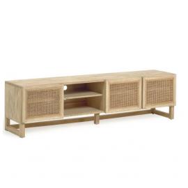 Mueble TV Rexit madera maciza y chapa mindi con ratán 180 x 50 cm