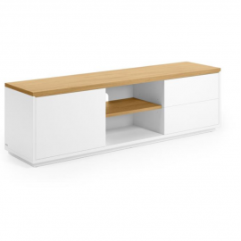 Mueble TV Abilen chapa roble y lacado blanco 150 x 44 cm