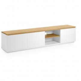 Mueble TV Abilen chapa roble y lacado blanco 200 x 44 cm