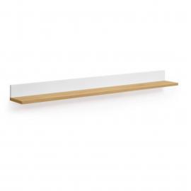 Estante Abilen chapa roble y lacado blanco 120 x 9 cm