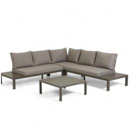 Set de exterior Duka de sofá rinconero 5 plazas y mesa de aluminio marrón