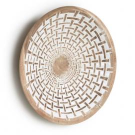 Panel mural Mely madera maciza mungur acabado blanco Ø 50 cm