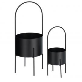 Set redondo Mash de 2 maceteros con asa metal negro Ø 25 cm y Ø 16,5 cm