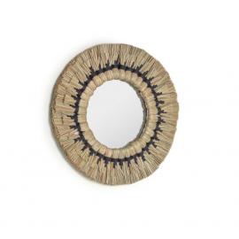 Espejo redondo Akila fibras naturales verde y cuerda algodón negro Ø 40 cm