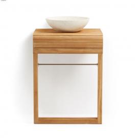 SUNDAY Mueble de lavabo de pared de madera maciza de teca 60