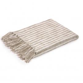 Manta Carola rayas 100% algodón marrón y blanco 130 x 170 cm